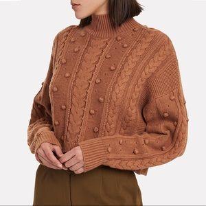Nicholas Cropped Aran Mock Neck Bobble Sweater NWT